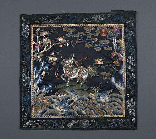 Satin Mandarin square from the Qing Dynasty, China (19th century) depicting a Qilin, a mythical horse-like animal reserved for the weaves of first rank military officers.
