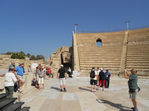 This is an ancient theater in Caesarea.