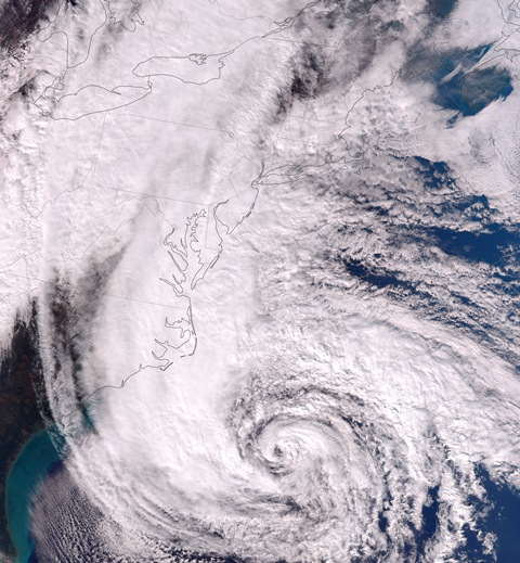 The immense size of Hurricane Sandy, feature the cold front heading toward the storm (picture courtesy of Wikipedia).