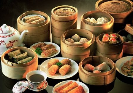 A sample of dim sum dishes.