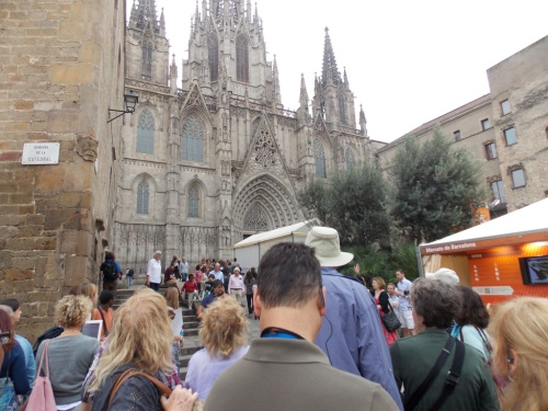 The Group at the Cathedral of Barcelona in the Medieval Quarter
