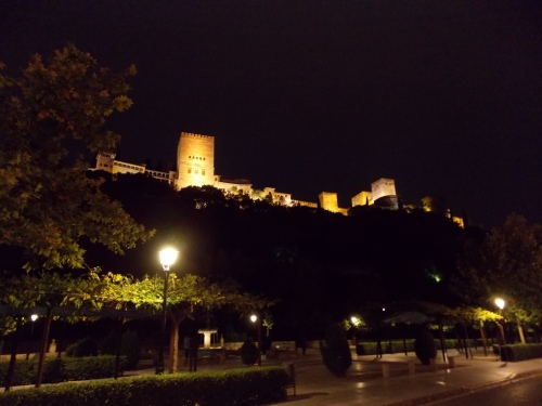 A night view of the Alhambra in Granada.