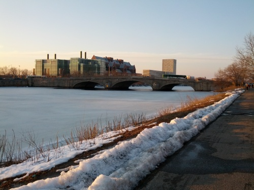 : Walking along the (frozen) Charles River to meet fellow Penn alumni in Harvard Square for a pre-game reception hosted by Penn Athletics.