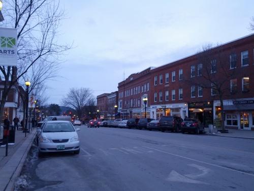 Cute shops and restaurants on Main Street, Hanover.