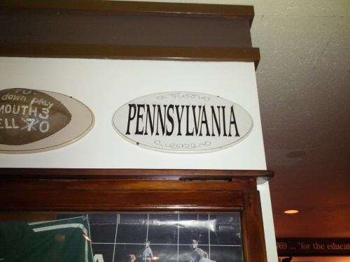 Molly's Restaurant and Bar on Main Street rocked the Ivy League décor. Go Penn!