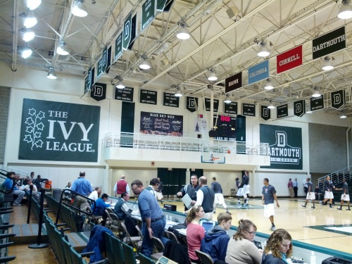 The Penn Men's Basketball team during pre-game warm-up. Note the largest Ivy League banner we have ever seen.