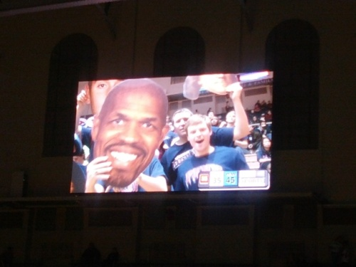Spotted on the Alan Aufzien Family Videoboard in The Palestra.