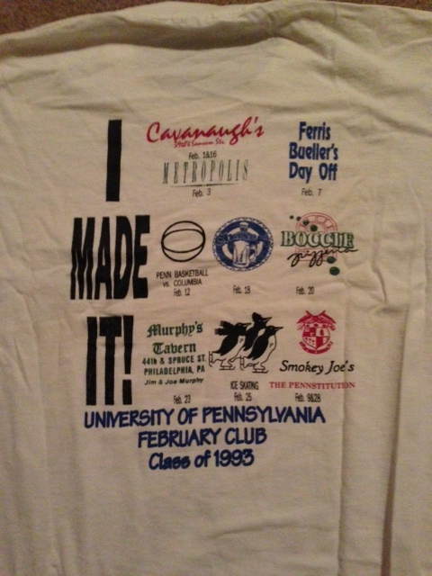 The back of the original Feb Club - a tradition started by the Class of 1993!