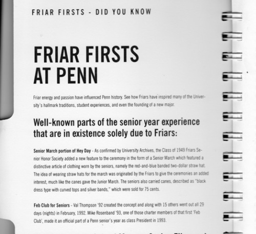 "Class President Michael ""Scoops"" Rosenband credited with bringing Feb Club to our class in the Friars directory."