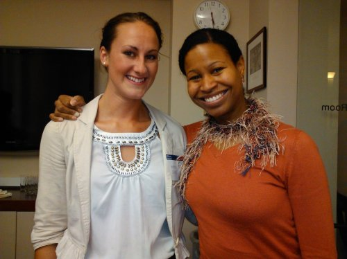 With Kristen Judge, C'12, my co-outdoor record holder in Women's High Jump at Penn.