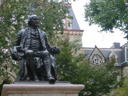 Our founder in front of College Hall (P.S. College Hall is on the National Registry).