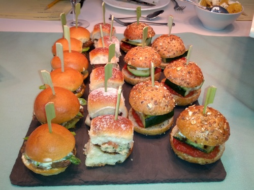 Who doesn't love sliders? This slider station has something for everyone! Short Rib Bocadillo (braised short rib, bacon, asparagus, celery root aioli), Bonito Del Norte (Spanish tuna in olive oil, tomato fresco, roasted pepper & black olive escabeche), and Grilled Vegetable Bocadillo (zucchini, tomato fresco, asparagus, cremini mushroom). Why not try all three. Seriously, do it.