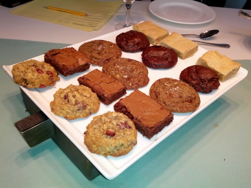 Chocolate brownie, blondie, and assorted cookies. The chocolate cherry cookie is INCREDIBLE. Another favorite was the salted chocolate chip cookie. YUM!!!