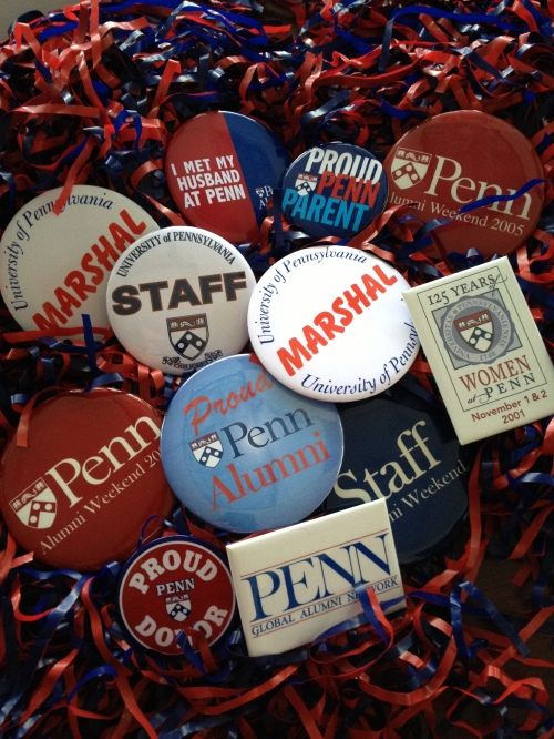 Buttons I collected while working for alumni relations.