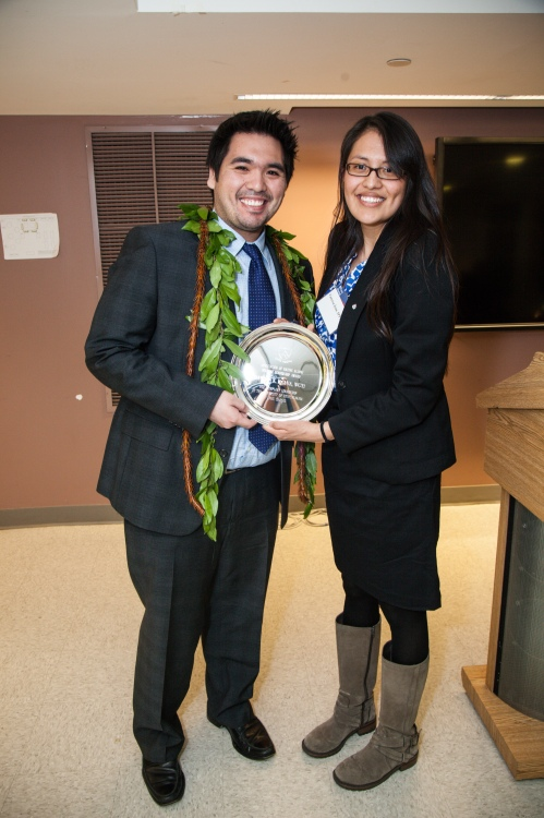 ANA Student Award Winner, Dawson Kaaua, WG'13 with Vanessa Iyua.