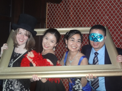 GSE formal: Posing high-school-dance-style with some of my cohort members.