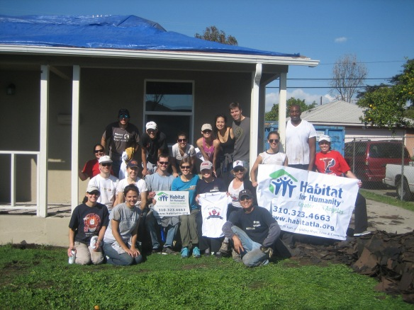 The Penn Serves LA Habitat for Humanity volunteers after removing the roof! Los Angeles