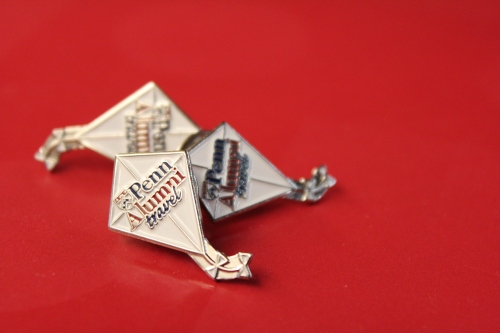 Official Franklin Flyer kite pin. Looks great on blazers, cardigans, camera bags, and other accessories!