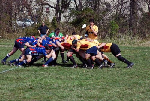 A scrum is one of the ways to pull a ball in play – akin to lining up at the line of scrimmage in American Football.
