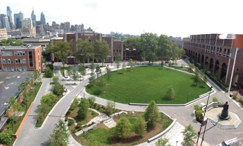 New green space, Shoemaker Green, provides a great spot for eating lunch outdoors.