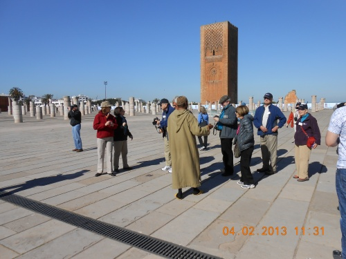 Penn alumni visit the Hassan Tower in Rabat. Photo by Professor Thomas Max Safley.