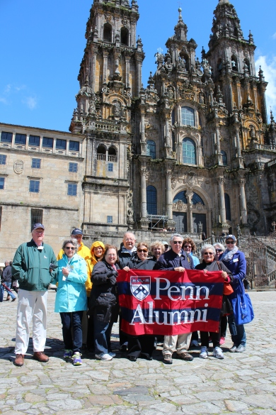 Penn alumni with the cathedral.