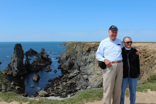 Jack, ME'56, and Joan Swope pose by the cliffs of Belle Ile. Jack was also a winner in last year's travel photo contest!