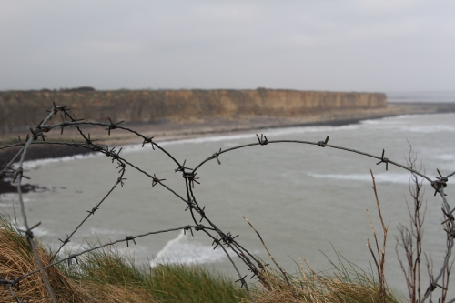 Barbed wire is commonplace on the Pointe du Hoc.