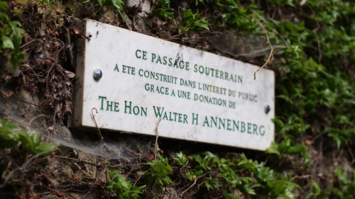 The plaque marking the subterranean passage sponsored by Wharton alum Walter H. Annenberg.