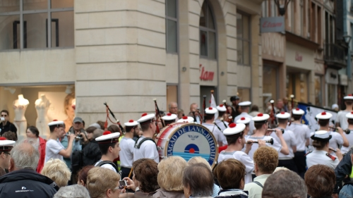Le Bagad de Lann Bihoue maritime marching band performing in the streets of Rouen.