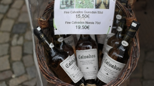 Calvados, French Apple Brandy, for sale in Honfleur.