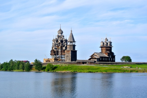 The Transfiguration Cathedral and the Church of the Intercession on Kizhi Island.