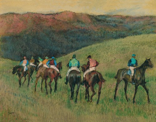 """Racehorses in a Landscape"" - Edgar Degas, 1894, pastel on paper. On display at Museo Thyssen-Bornemisza in Madrid, Spain."