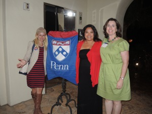 Former club presidnet Robby Koeppel Foss, C'92, GED'92, current president B. Bea Rajsombath, C'99, and Kiera Reilly, C'93, from Penn's Los Angeles office.