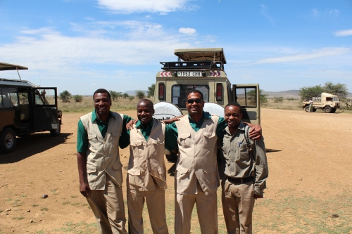 Our safari drivers (Left to Right: Wolfgang, Wilfred, Shafino) and Safari Director, Adam, in Tanzania