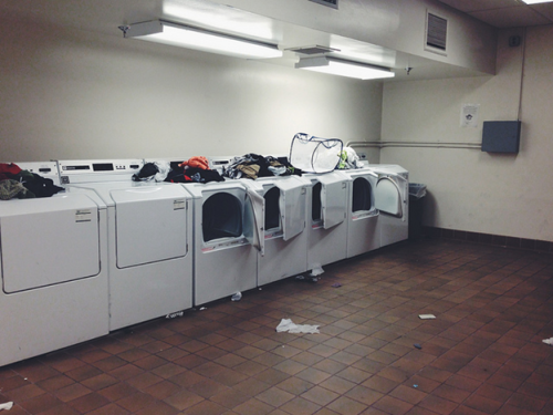 10:36 p.m. - Nighttime Laundry. No matter what time of the day it is, all the washing machines always seem to be in use. Photo by Hannah Rosenfeld.
