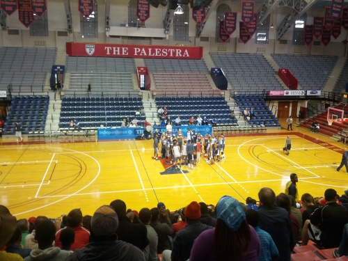 The Philadelphia 76ers on the Palestra floor