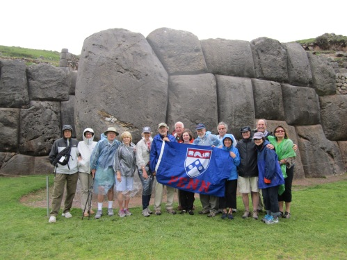 The group stops for another picture in front of the massive building stones.
