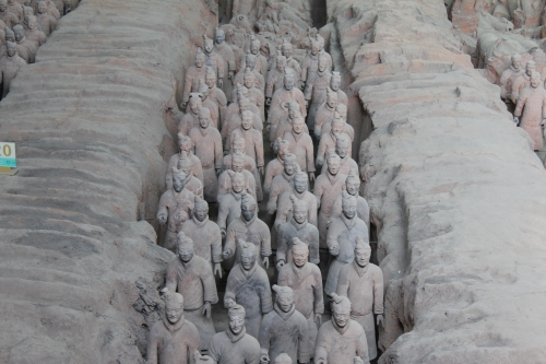 Just a small sampling of the estimated 8,000 Terra Cotta Warriors underground- each with a face uniquely his own.