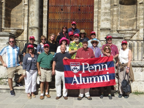 Penn alumni and friends at the Havana cathedral.