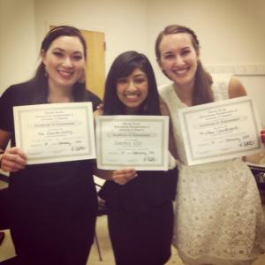 Nina, Swaroop, and Lilly holding our awards for Semifinalists, Best Soloist, and Best Choreography