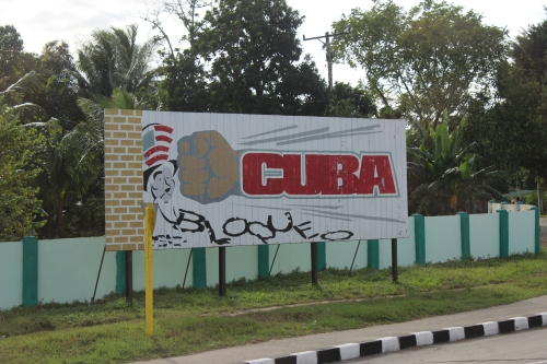 Blockade sign outside Havana