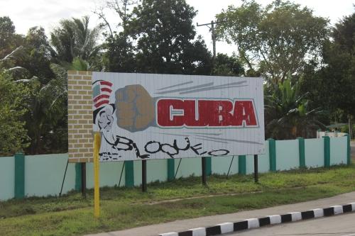 Blockade sign outside Havana