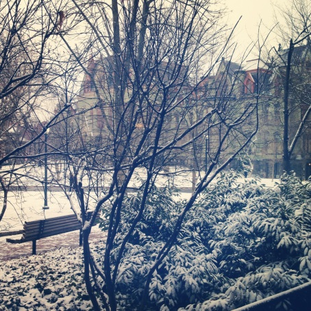 College Green looking magical in the snow.