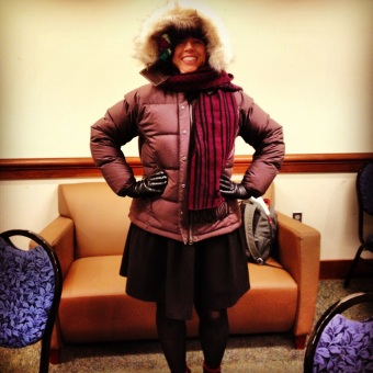 Bundled up in a sweater, a down jacket, a hat, a scarf and gloves! Brrr!