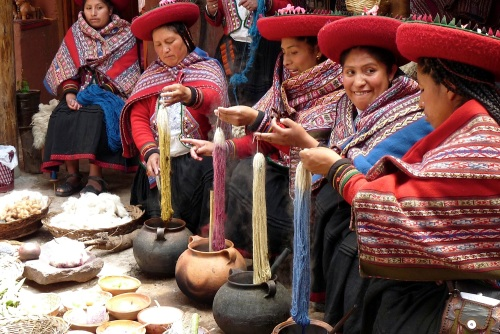 Grand Prize Winner &1st Place in the Culture Category: Women Dying Alpaca Wool, Sacred Valley, Peru by Barbara Holland, L'86