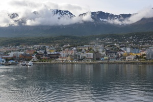 "Ushuaia (Argentina), the Southernmost town of the world, as seen from our Antarctic-bound ship ""L'Austral""."