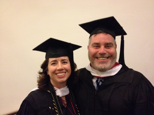 Me and my colleague Casey Ryan, C'95. We lead the alumni procession down Locust Walk and into Franklin Field.
