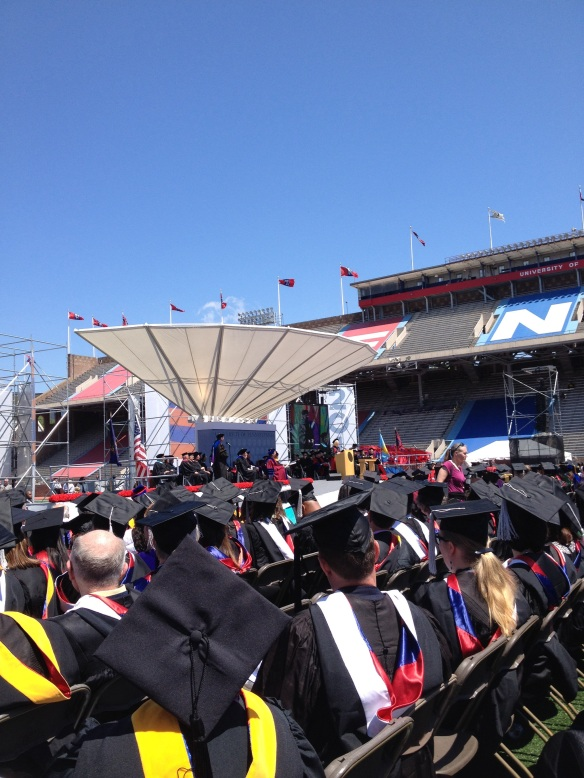 Commencement from the alumni flag bearer's view.