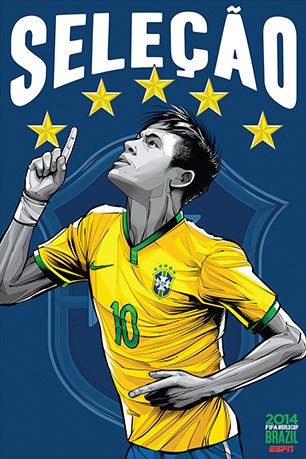 Brazilian artist Cristiano Siqueira was commissioned by ESPN to create unique posters representing each of the thirty-two teams in the tournament. The posters of the four remaining teams are below, but you can see all the posters here.